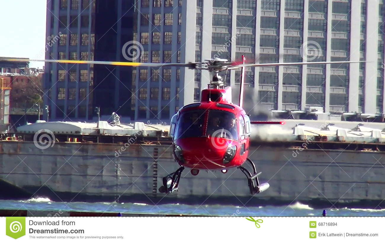 Helicopter landing at Manhattan Heliport USA cityscapes