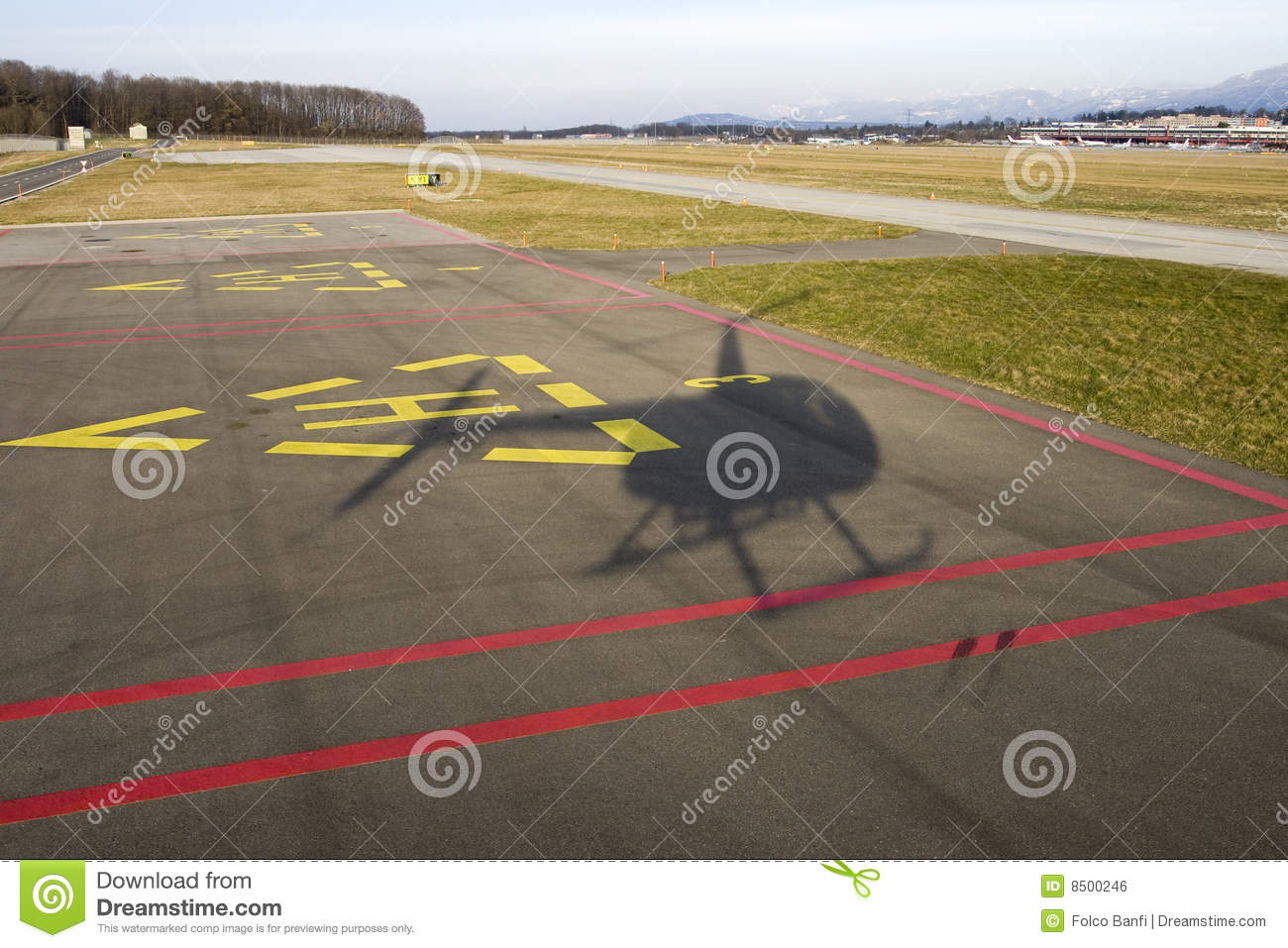 Helicopter landing shadow