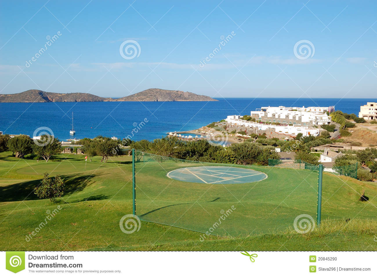 Helicopter Landing Site At Luxury Hotel Stock Photo