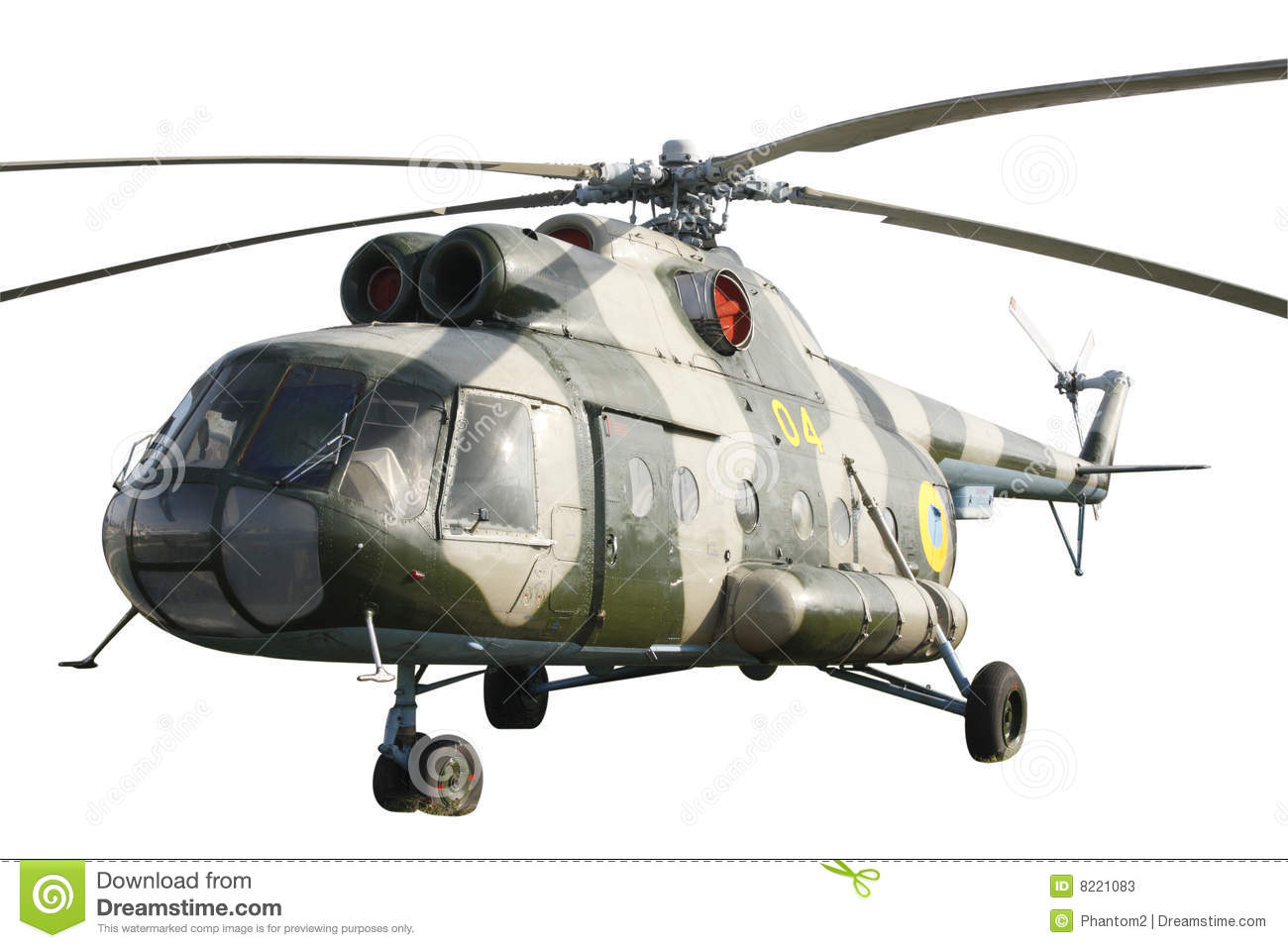 Elicottero Mi 8 : Helicopter mi isolated stock image of russian