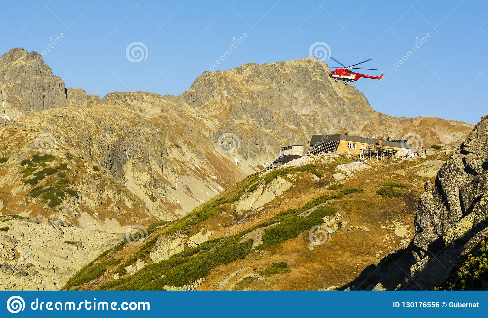 Helicopter OM EVA Type Mil Mi 8T Above The Shelter Zbojnicka Chata In