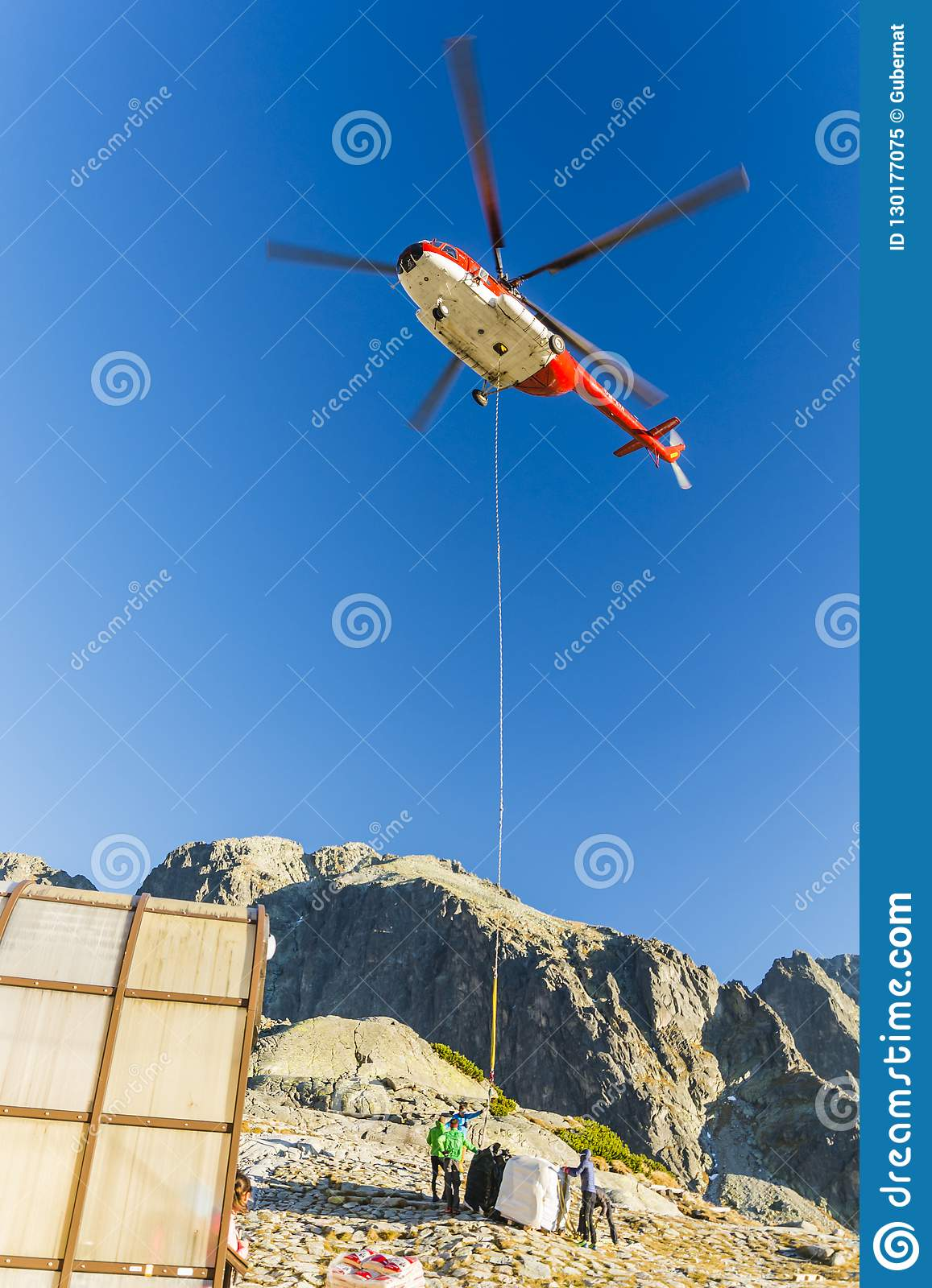 Helicopter OM EVA Type Mil Mi 8T With Delivery To The Mountain Hut Zbojnicka Chata