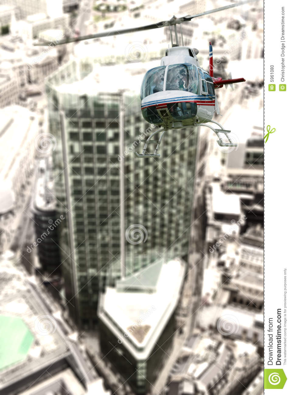 Helicopter Over City Buildings Stock Photo Image 5961080