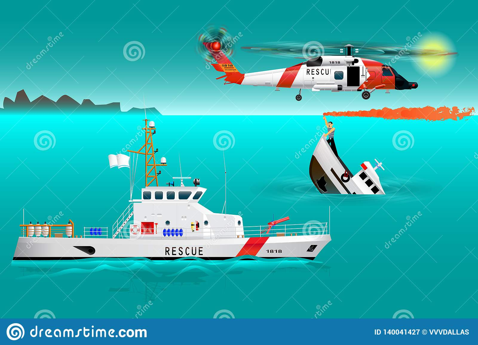 Helicopter rescue teams and ship at sea. Coast security. Sinking boat. Sailor takes a distress signal. The accident on the water.