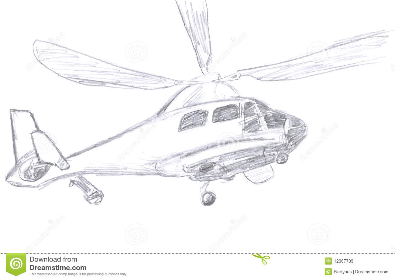 Helicopter sketch stock illustration illustration of drawing 12367703