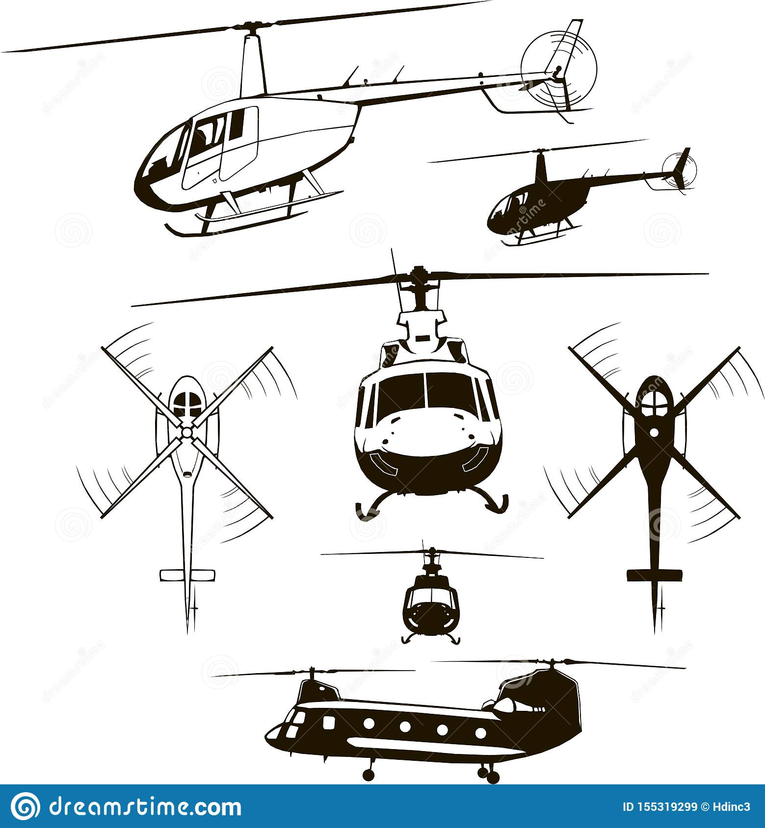 Helicopters Set Vector Illustration Icon Symbol Monogram Isolated Silhouette Stock Vector Illustration Of Aviation Aircraft 155319299
