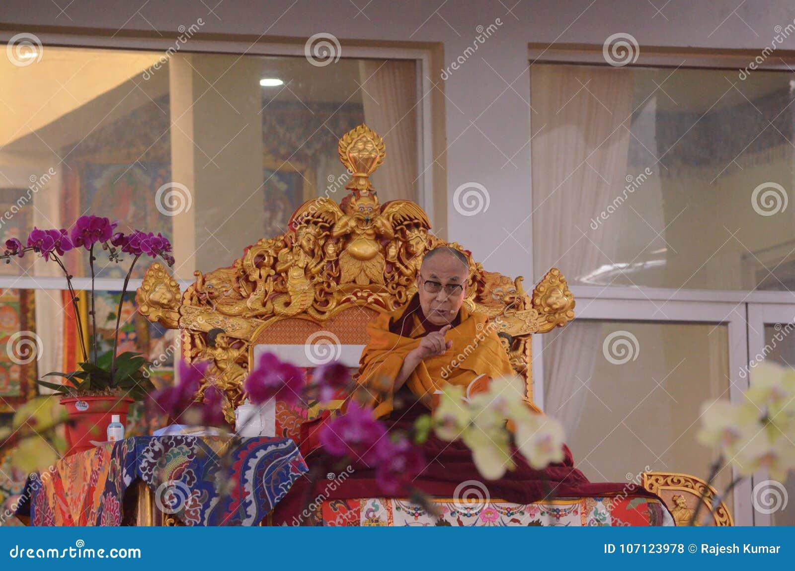 Helighet Dalai Lama i Bodhgaya, Indien
