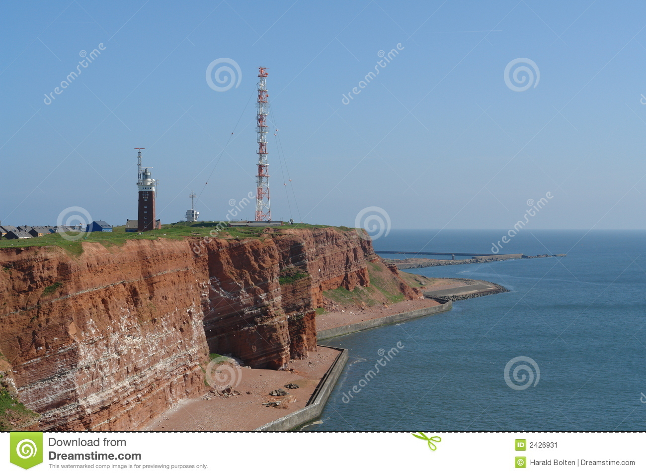 Red sandstone cliffs at Heligoland island in the North Sea.