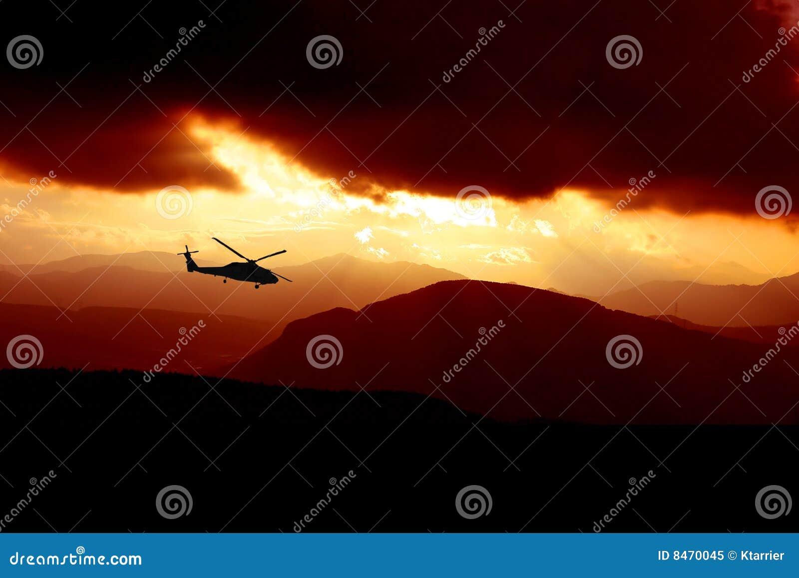 Helikoptersolnedgång