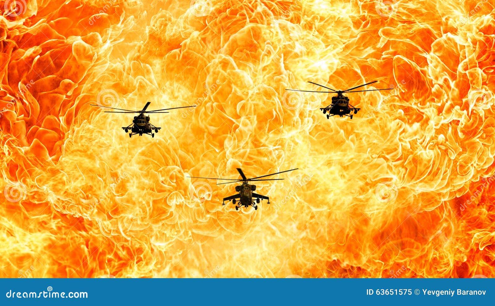 Helikoptery na ognistym tle, ogień płoną