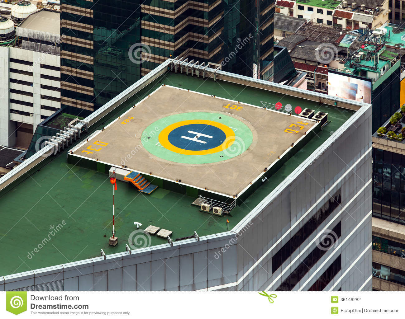 Stock Photography: Helipad (Helicopter landing pad) on roof top ...
