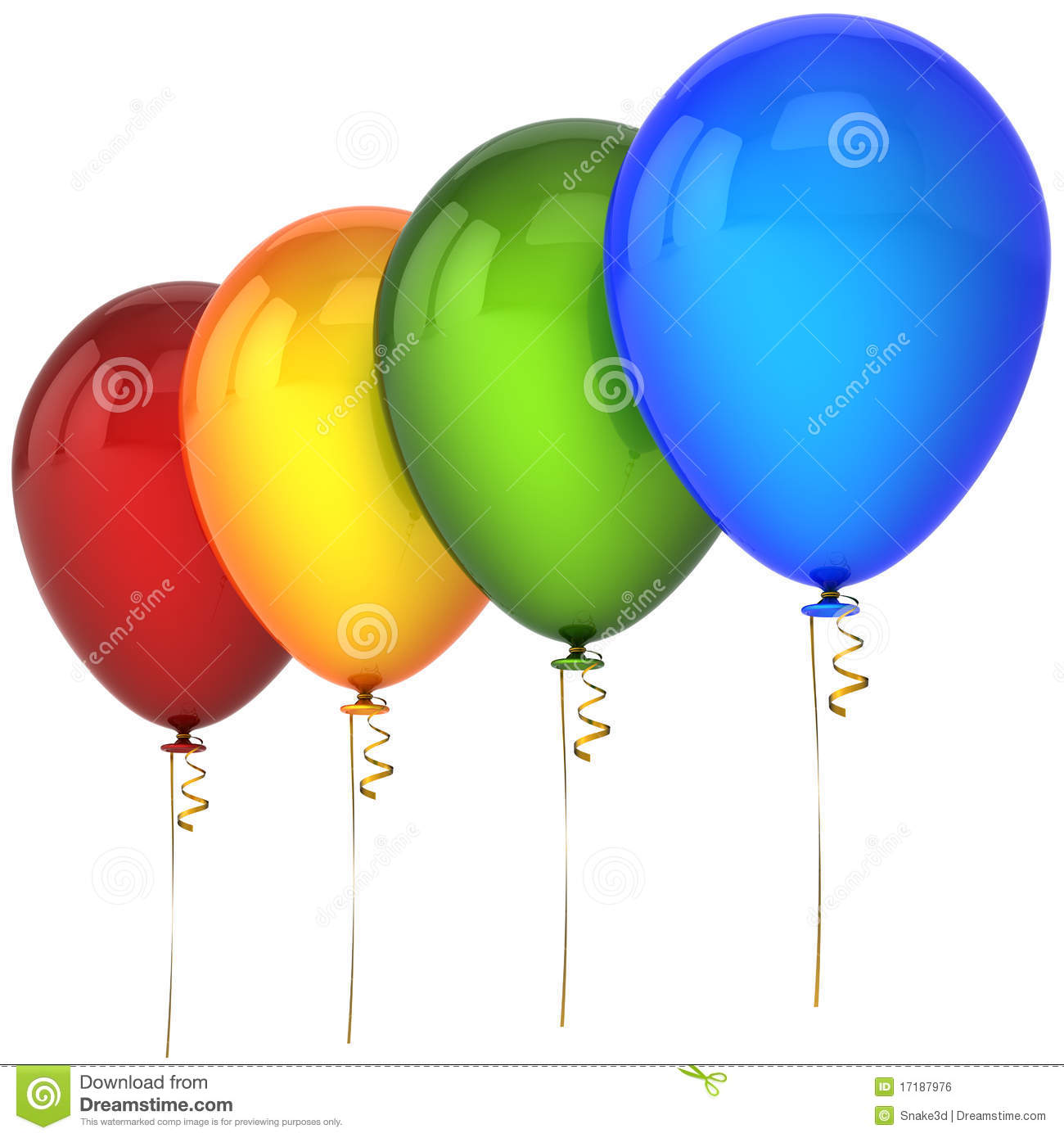 Helium Balloons In A Row Royalty Free Stock Image - Image: 17187976