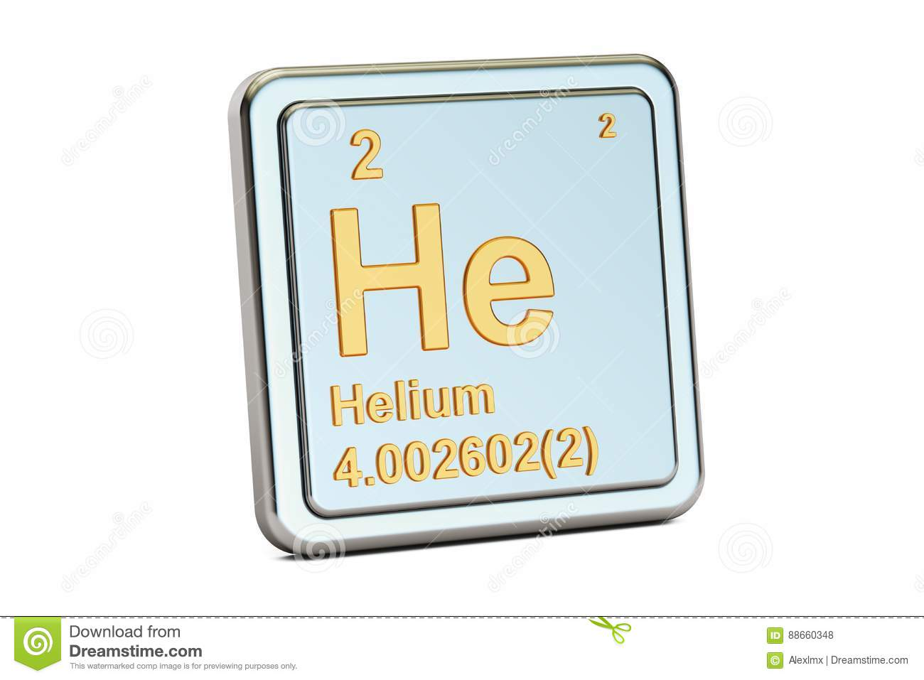 Helium He Chemical Element Sign 3d Rendering Stock Illustration