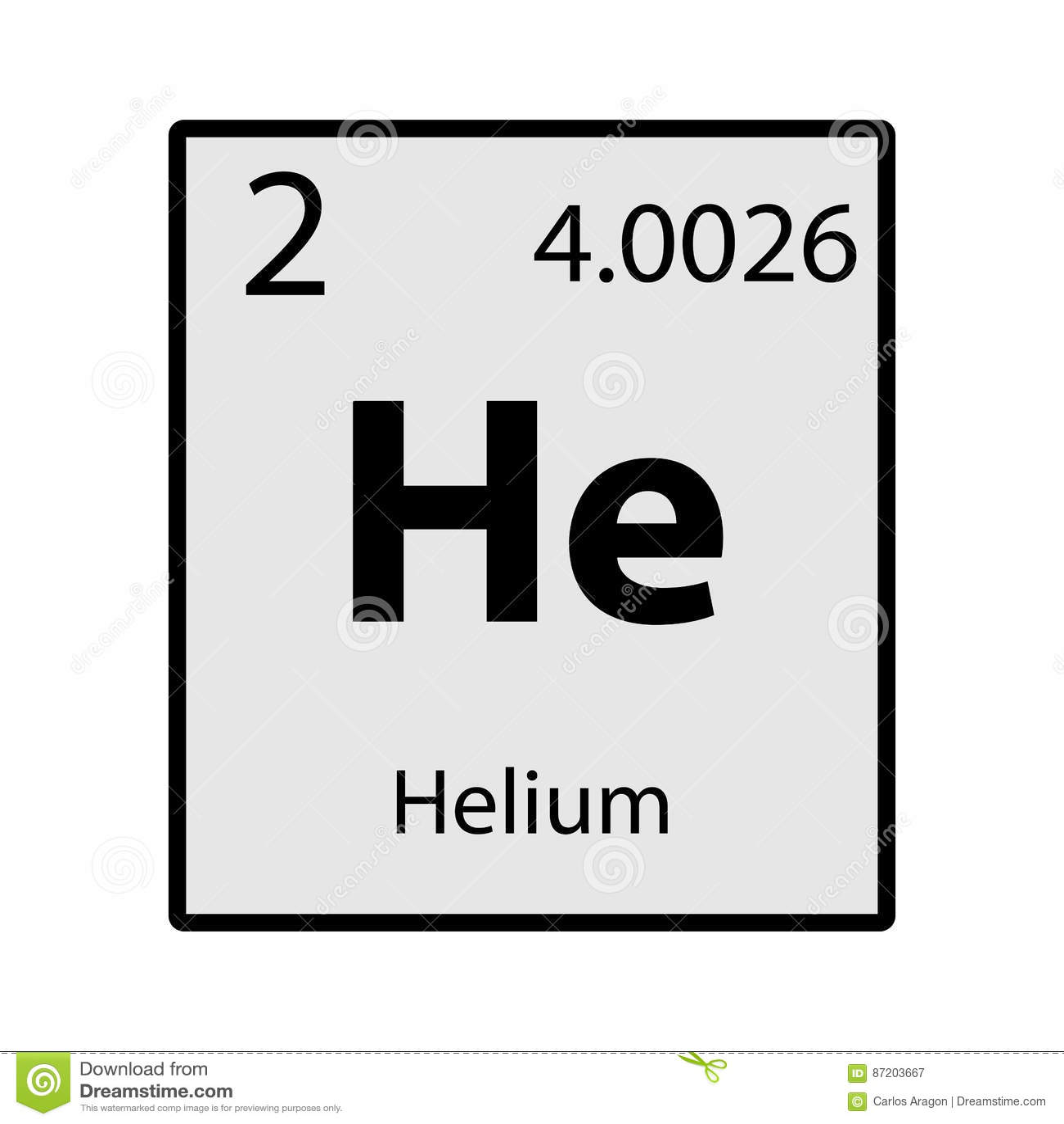 Helium Periodic Table Element Gray Icon On White Background Stock