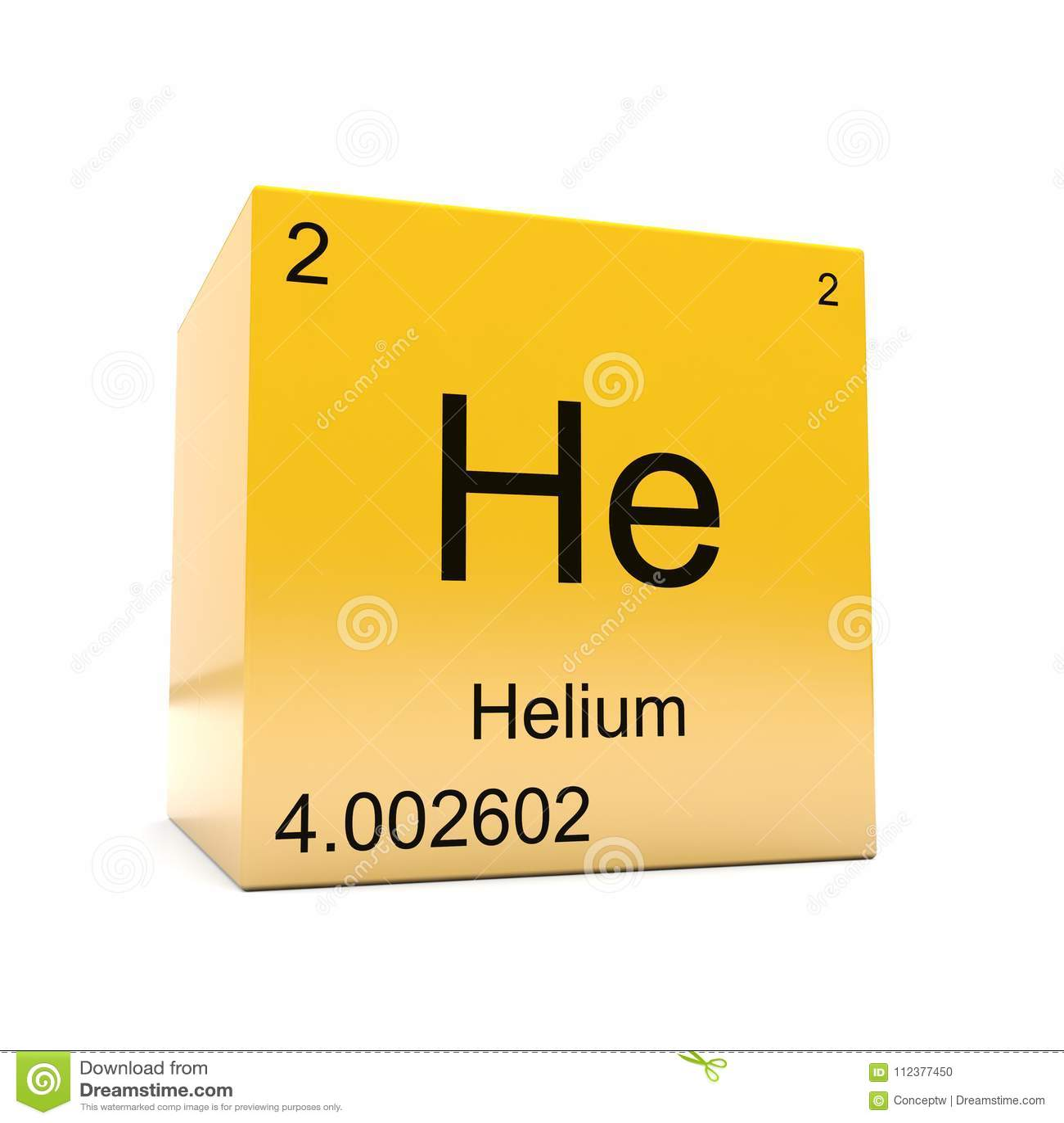 Helium Symbol Yellow Cube Stock Illustration Illustration Of