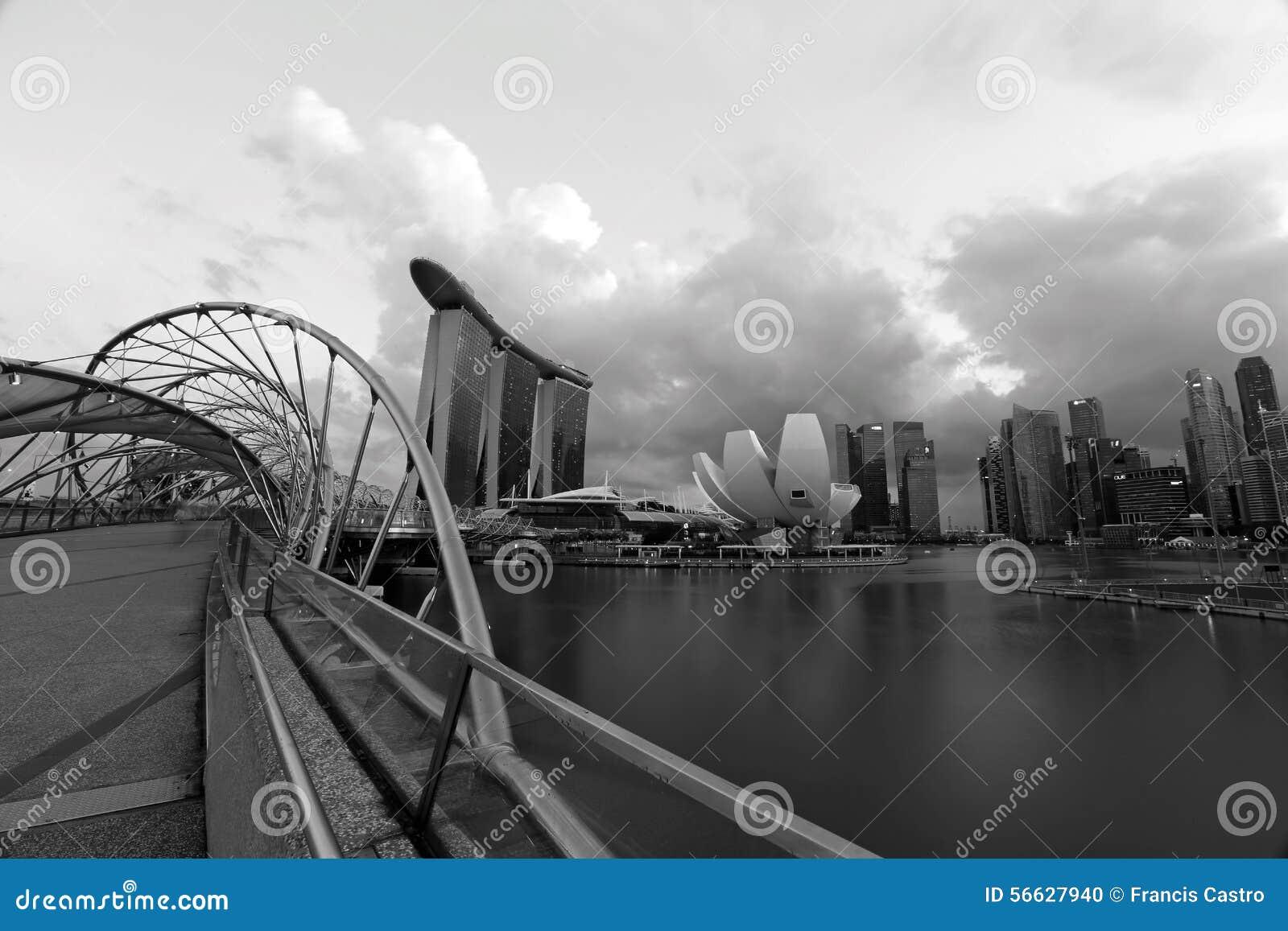 Helix bridge and the singapore marina bay signature skyline in black and white photo