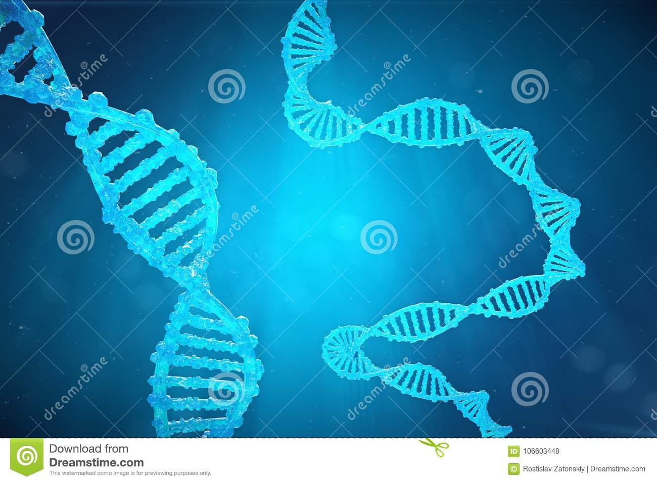 Helix DNA molecule with modified genes. Correcting mutation by genetic engineering. Concept Molecular genetics, 3d