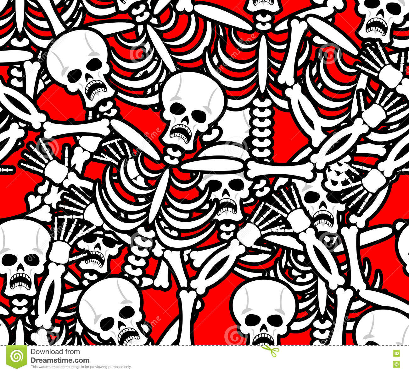 Hell Seamless Pattern Skeleton In Sinners Background Ornament