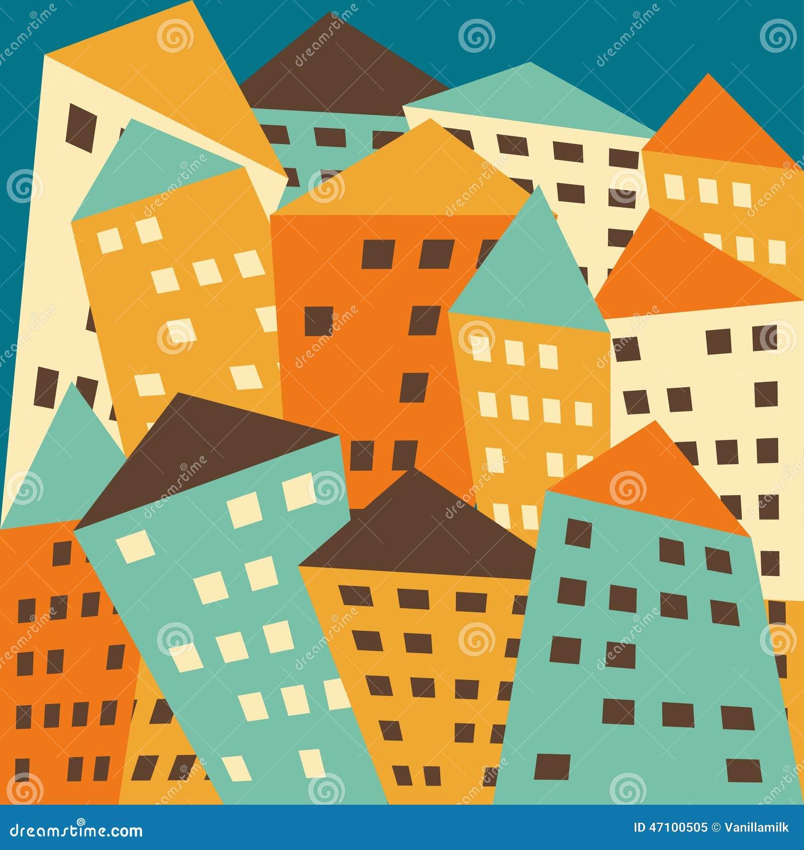 Helle farbige fiktive verzerrte Häuser des Vektors