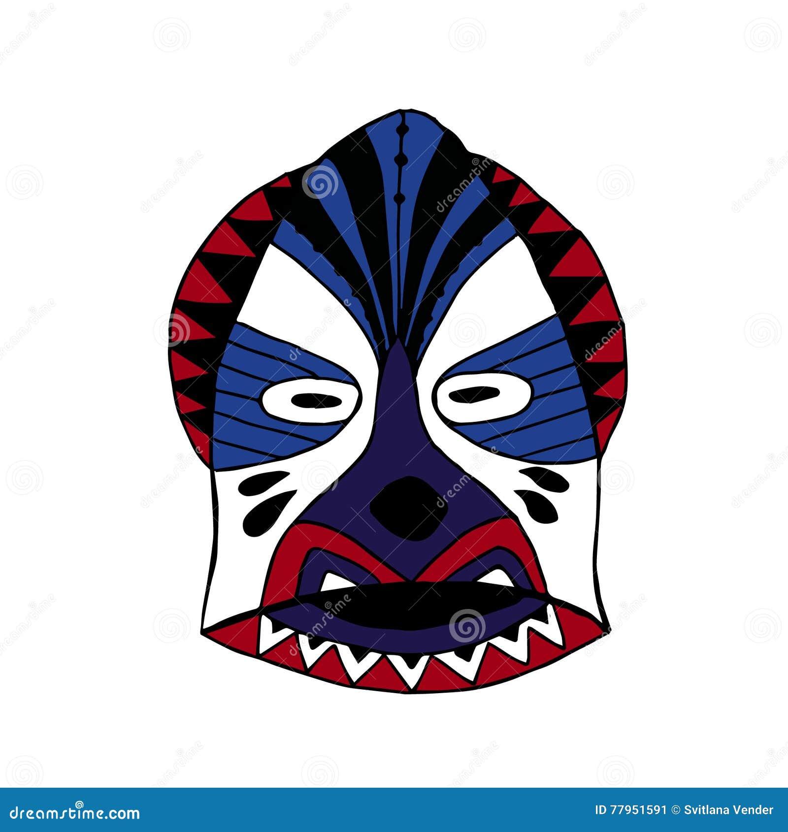 Helle farbige Gesichtsmaske für die Ritualkarikaturart