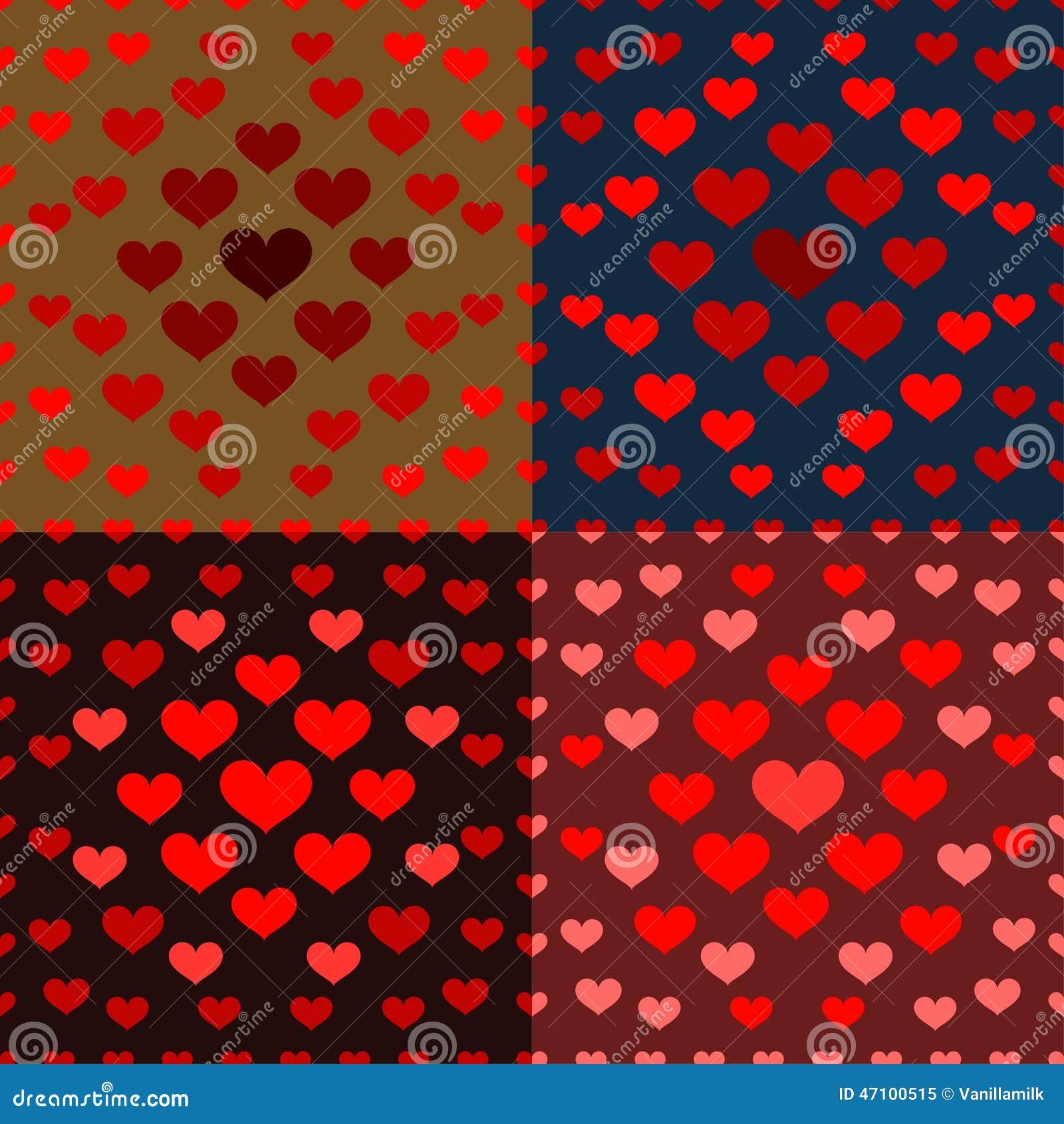 Helle farbige Karikaturherzen vector nahtloses Muster auf dem dar