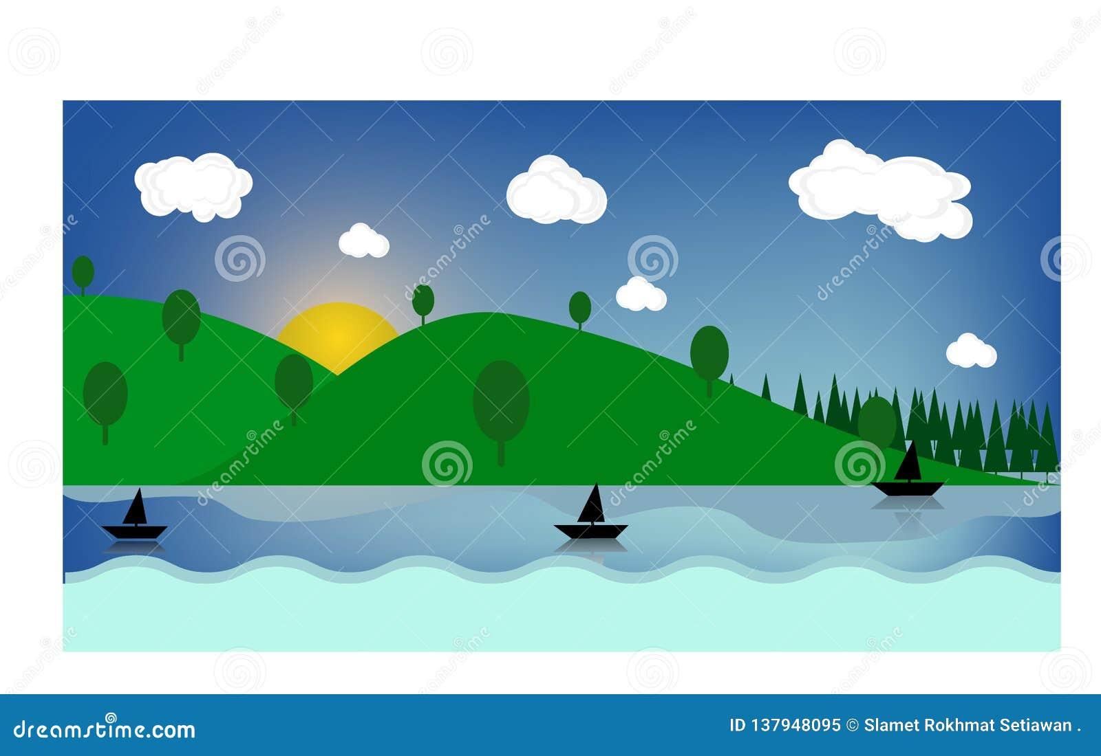 Helle Felder des bunten sonnigen Sommers, Hügel gestalten, grünes Gras, klarer blauer Himmel mit Wolken und Sonne, flaches Artvek