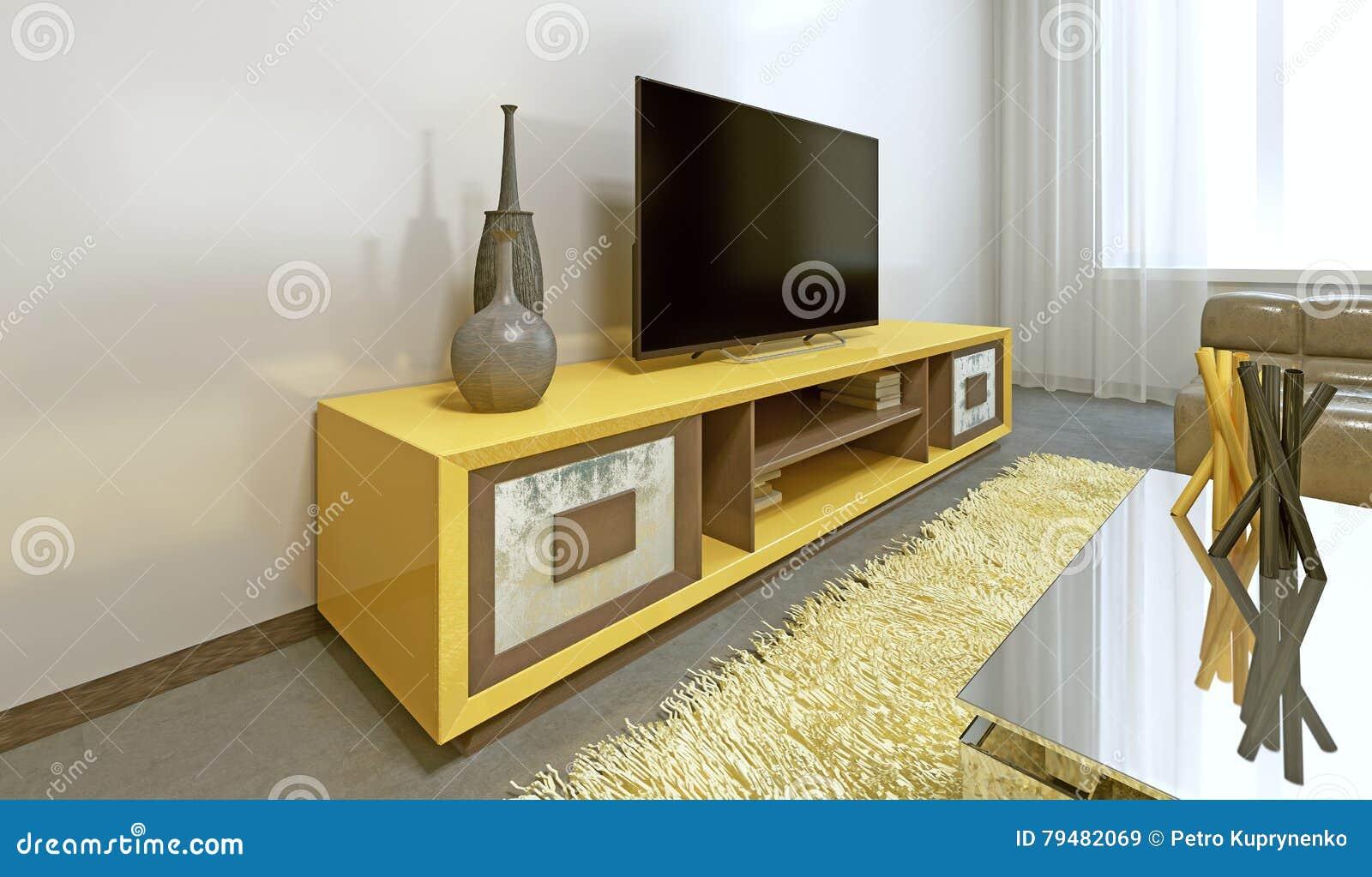 Helle Gelb Fernseheinheit Im Modernen Wohnzimmer Stock Abbildung