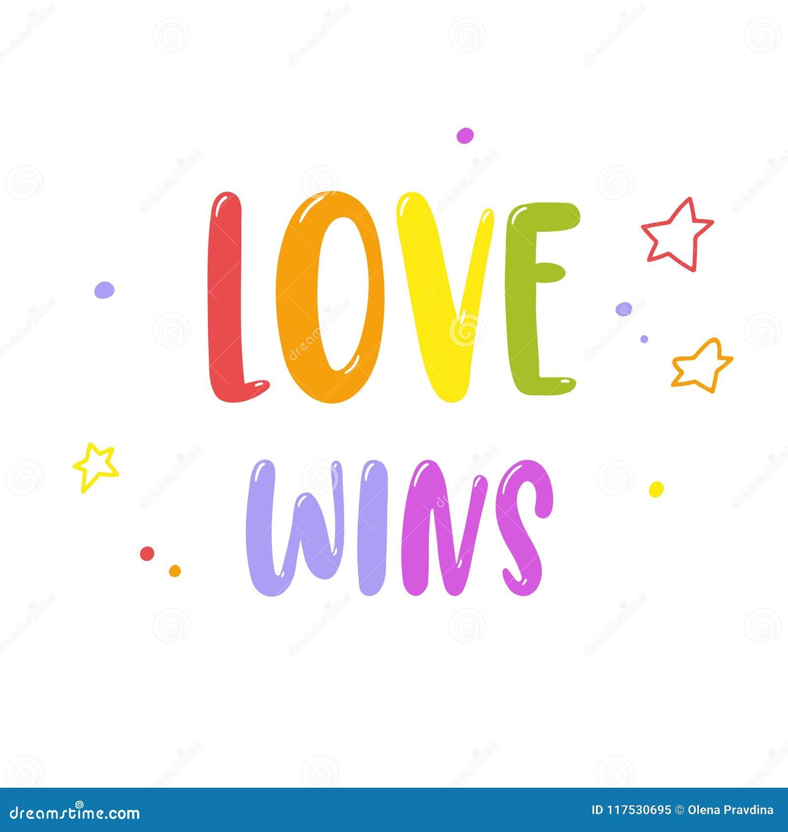 Helle Regenbogenaufschrift Liebesgewinne lokalisiert auf Weiß Homosexuelles Pride Lettering LGBT berichtigt Konzept Rand der Farb