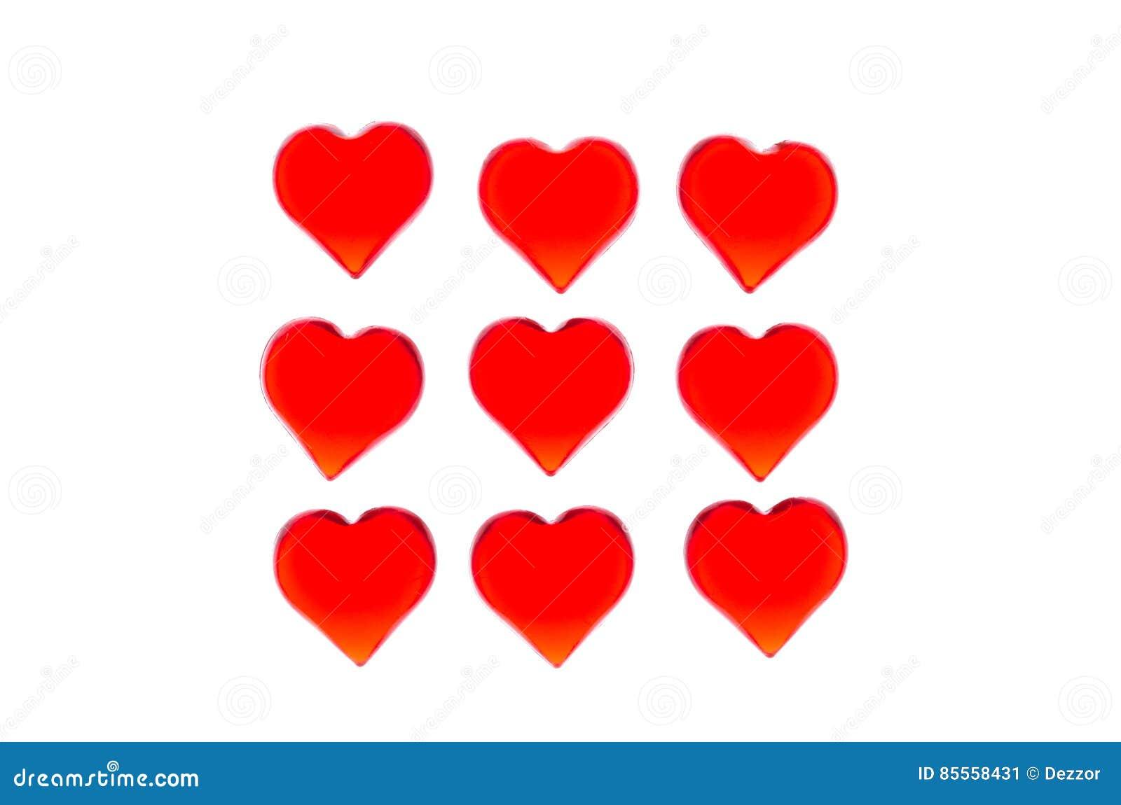 Helle rote Herzen 9 bessert in Form eines Quadrats aus Zwecks Valentinsgruß ` s Tag verwenden, Hochzeiten, internationaler Frauen