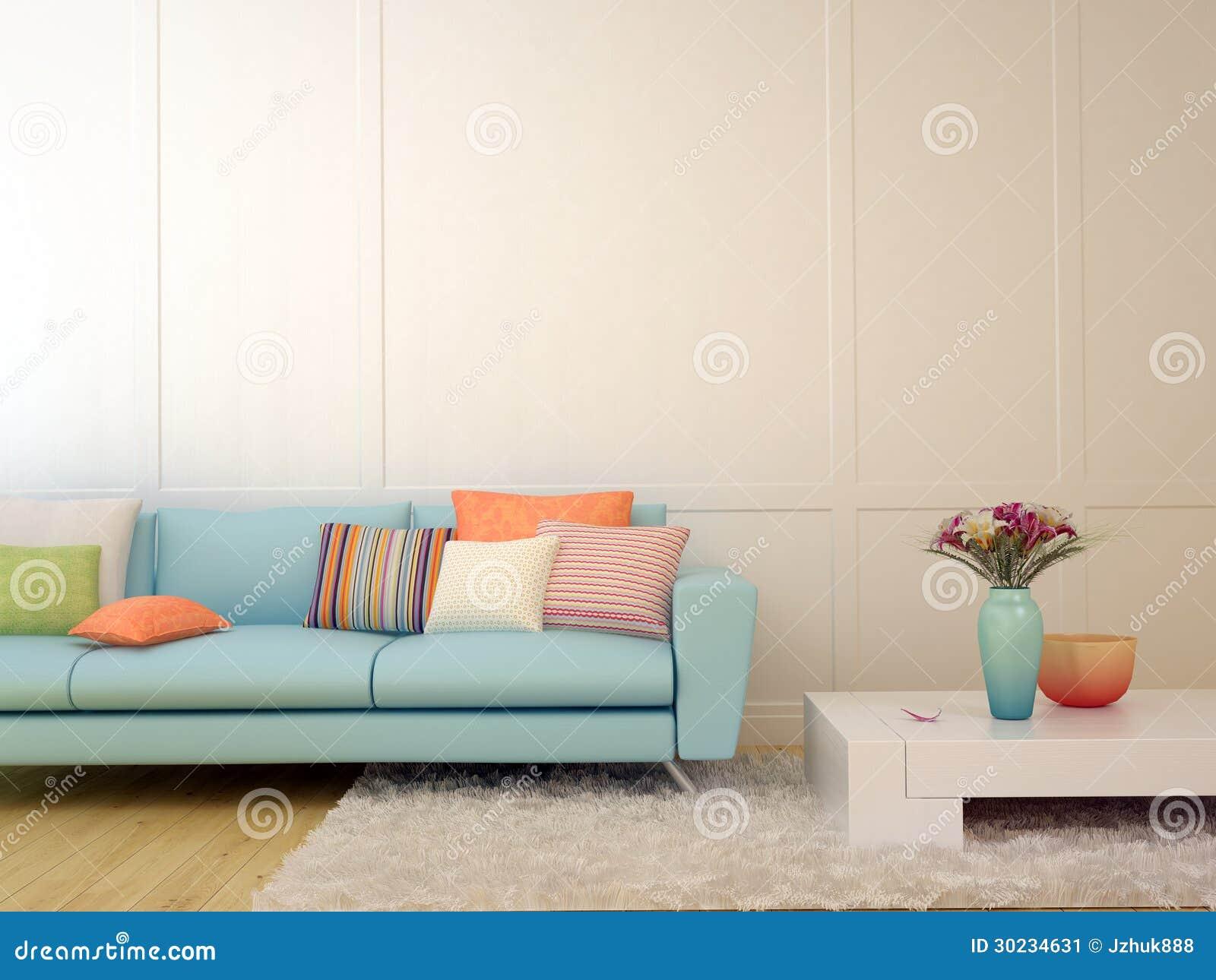 blaues sofa mit bunten kissen und einem wei en kaffeetische stockbild bild 30234631. Black Bedroom Furniture Sets. Home Design Ideas