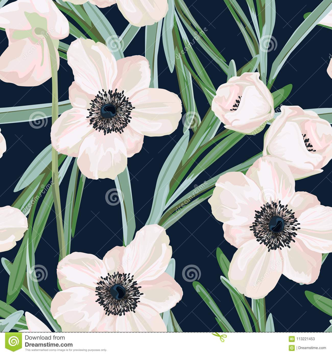 Seamless Pattern With White Anemone Flowers And Eucalyptus Winter