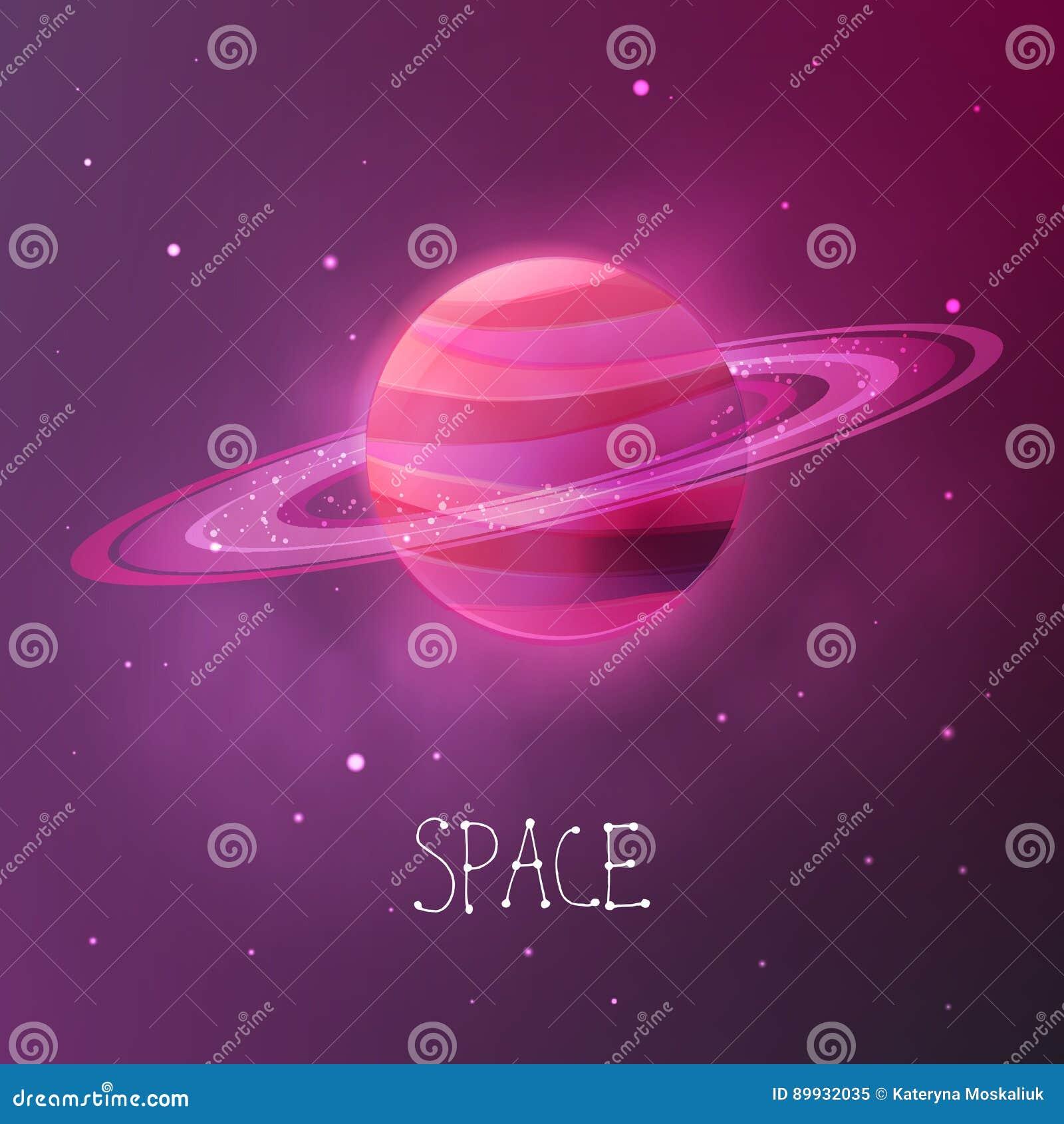Heller Bunter Planet Mit Planetarischen Ringen ...