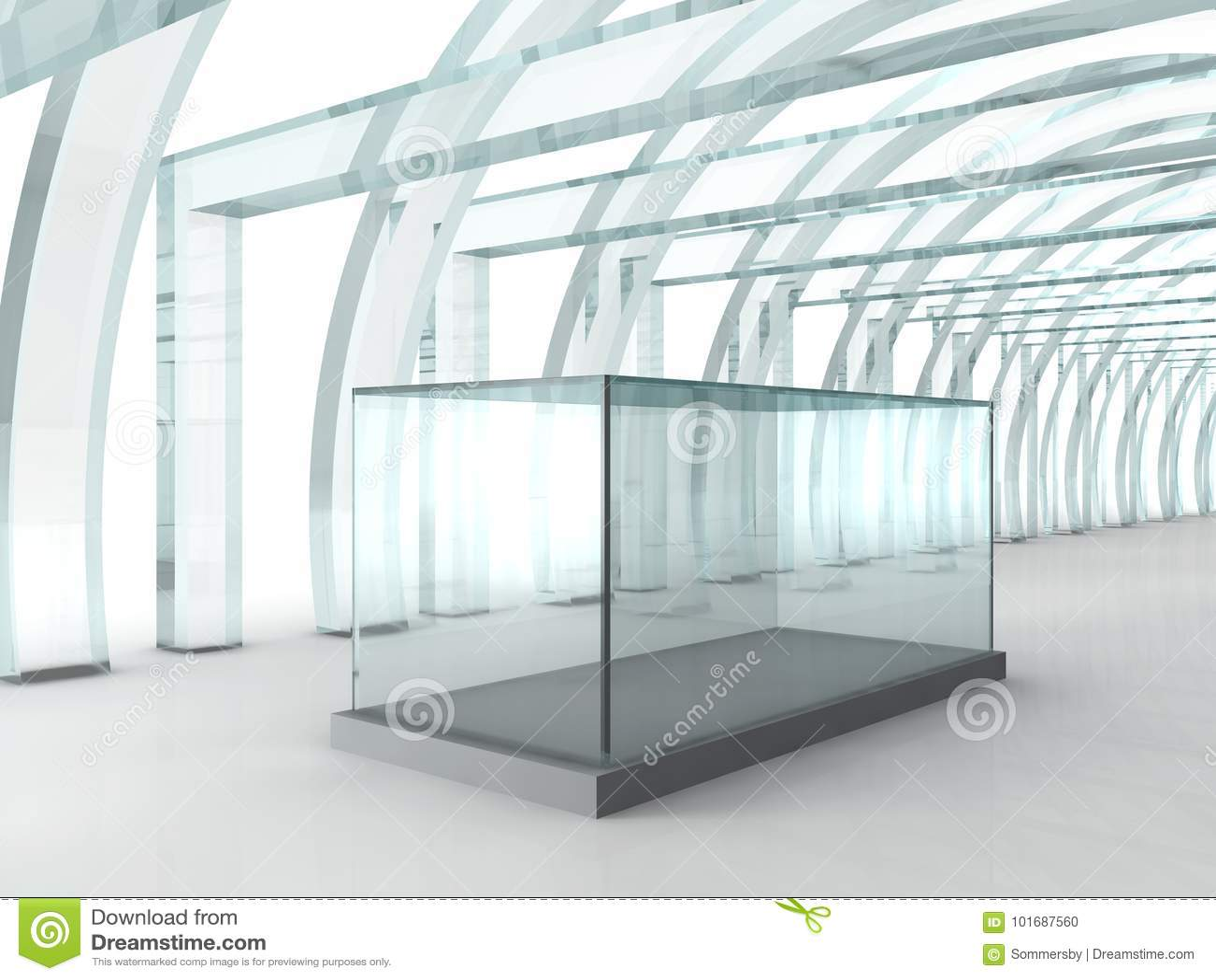 Heller Glasgang oder Tunnel mit Glaskasten für Ausstellung herein