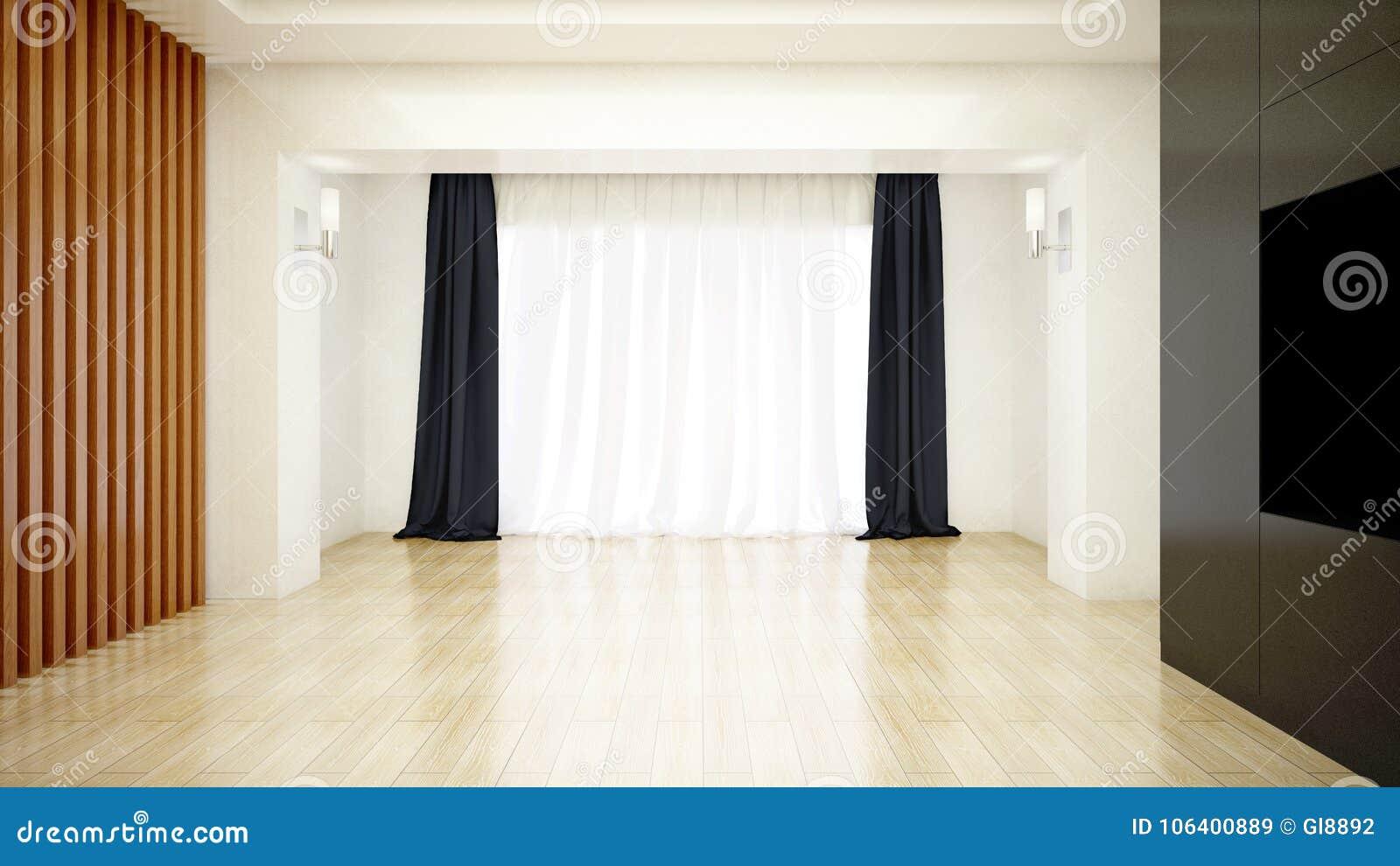 Heller Raum Verziert Mit Weißem Sauberem Vorhang Und Hölzernem