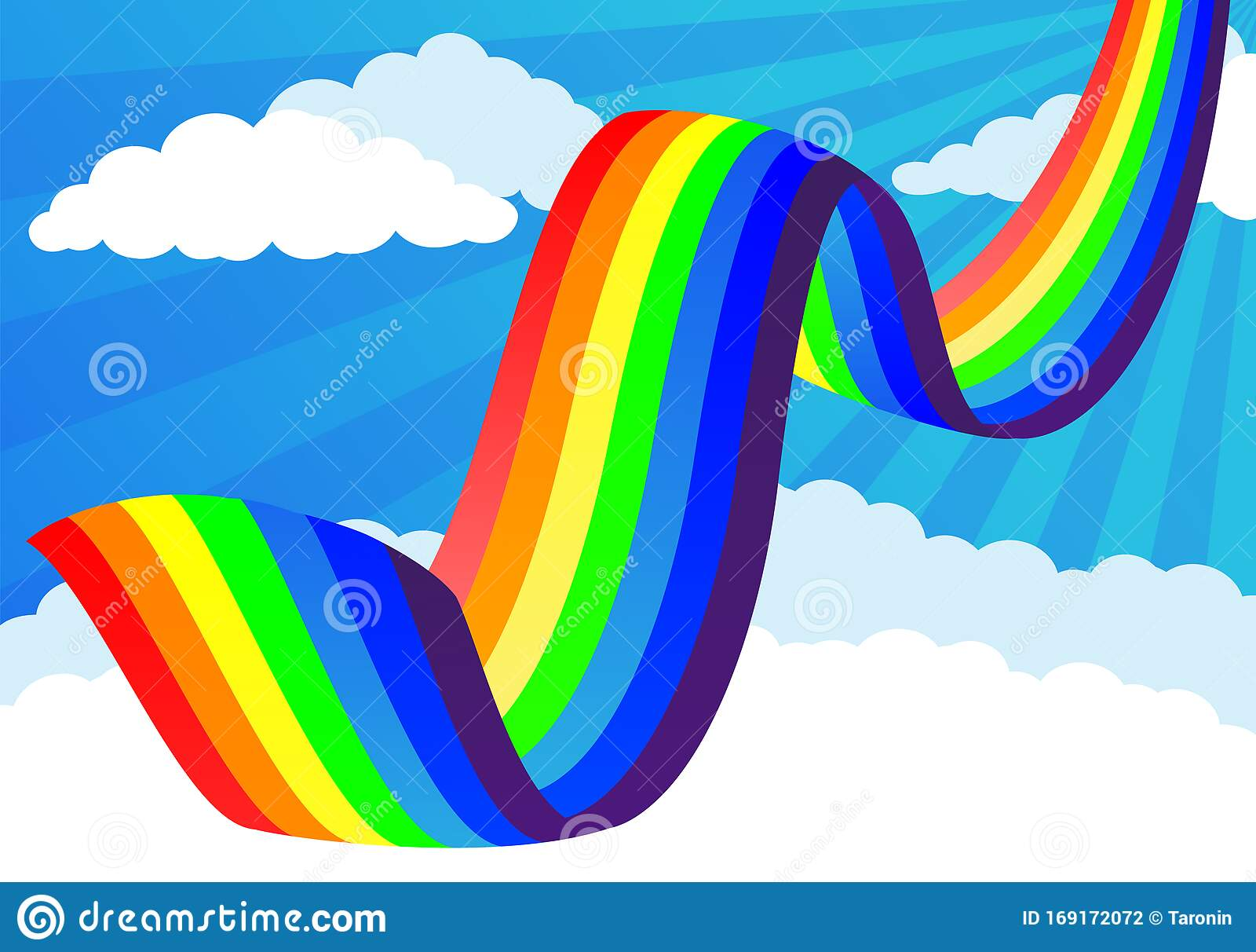 heller regenbogen und wolken vektor abbildung