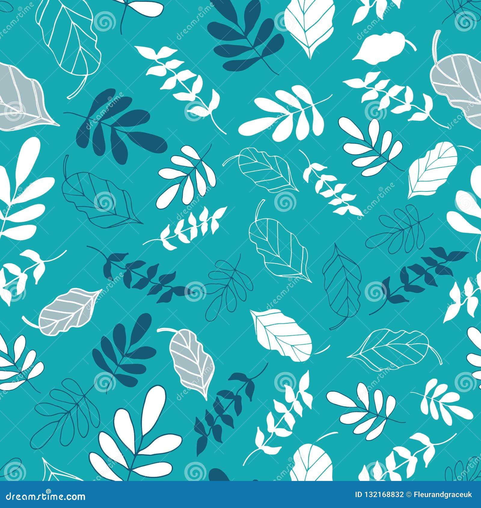 Heller Teal Tossed Floral und Blätter mischen Muster