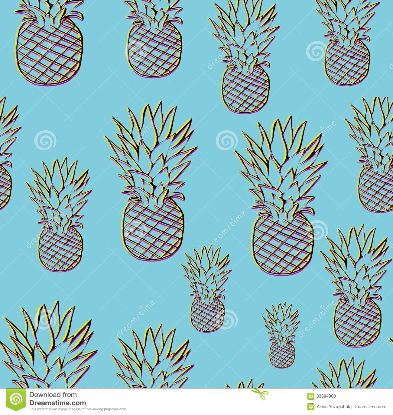 Helles Ananasmuster in der Art 3d
