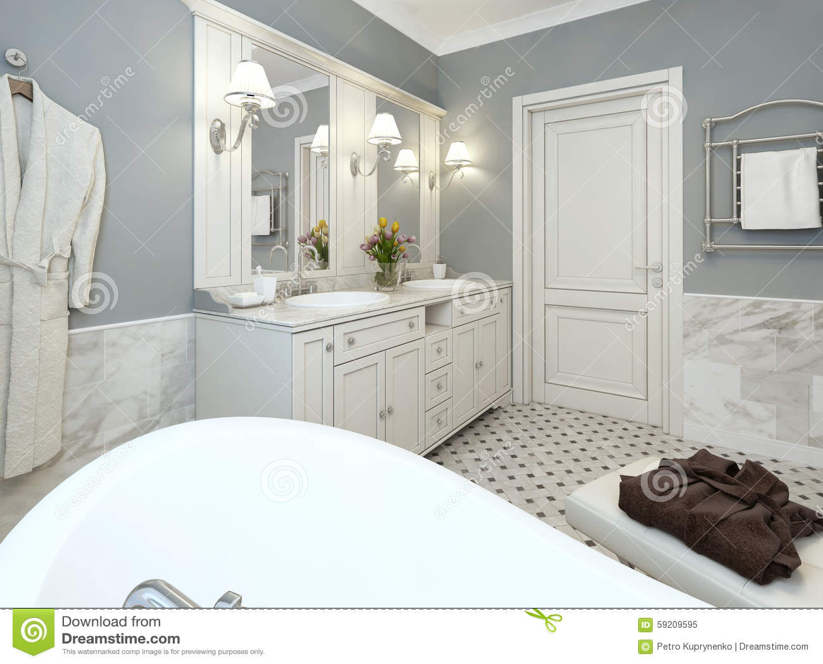 Helles Badezimmer Provence stockbild. Bild von leuchten - 59209595