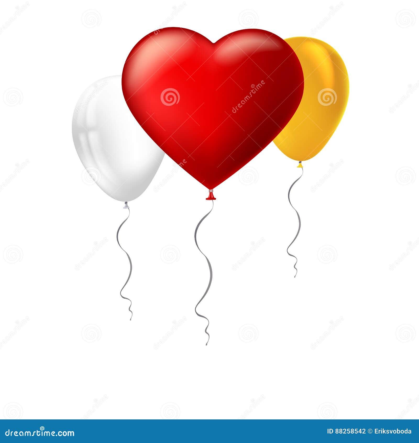 Helles rotes Herz, der aufblasbare Ballon in Form eines großen Herzens mit dem Band, Band und anderes aufblasbar gefärbt