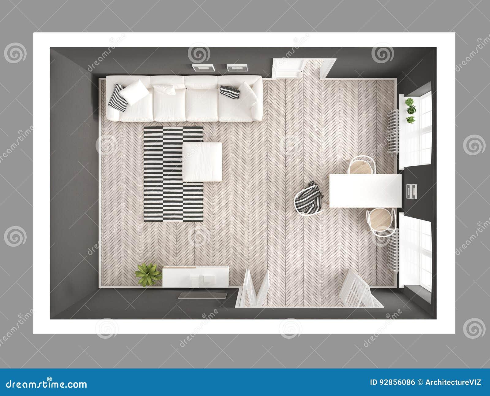 Helles unbedeutendes Wohnzimmer mit Sofa und Speisetische, scandi