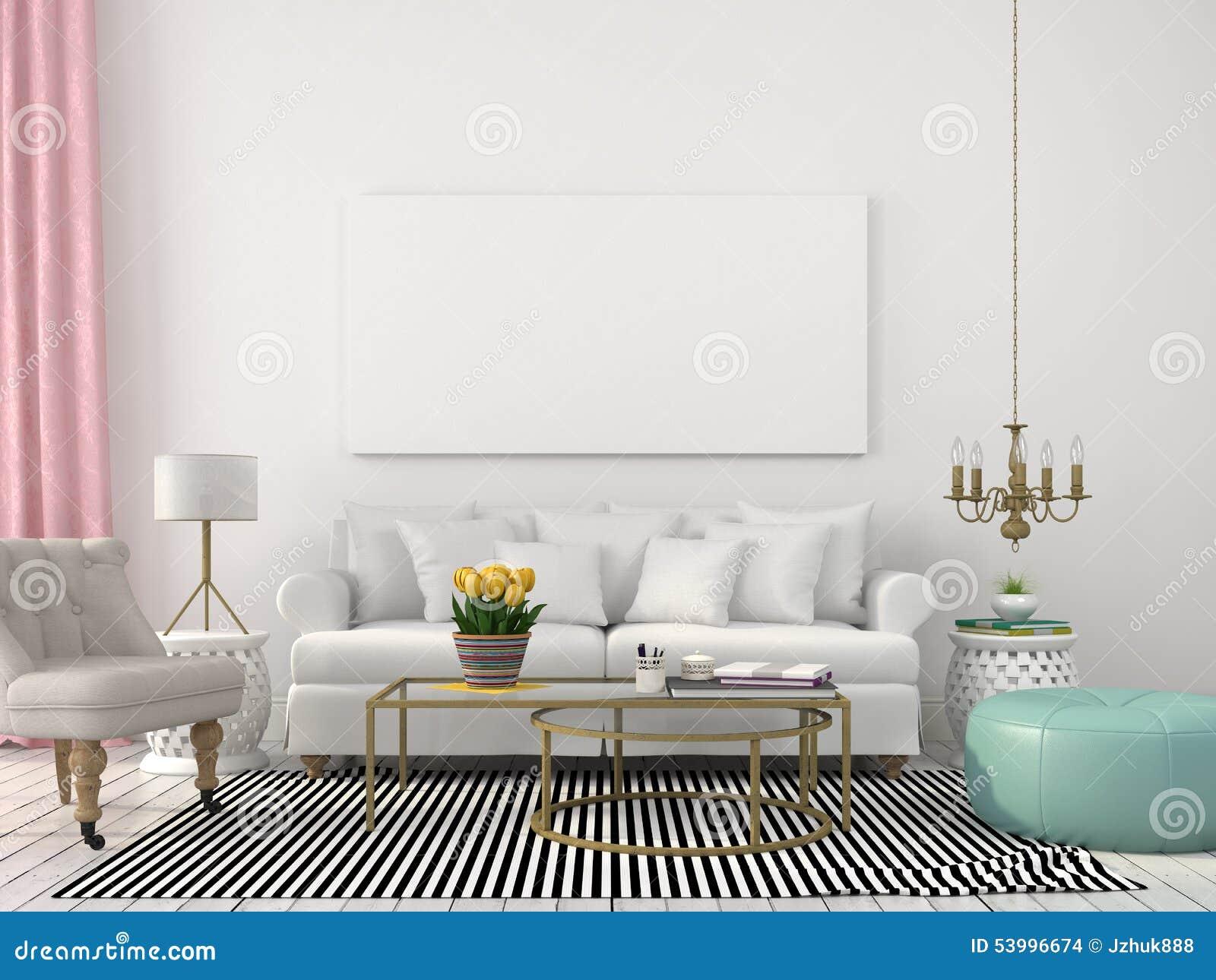 Helles Wohnzimmer In Den Weissen Und Pastellfarben Stockfoto