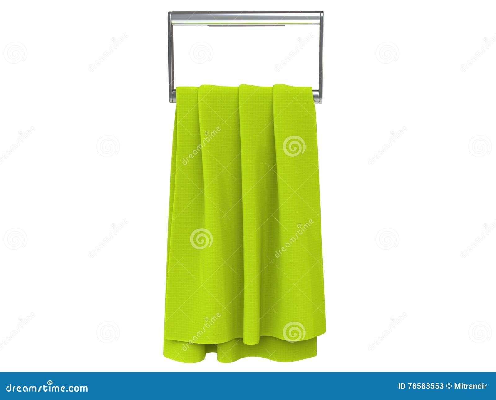 Hellgrünes Tuch auf einem Tuchaufhänger