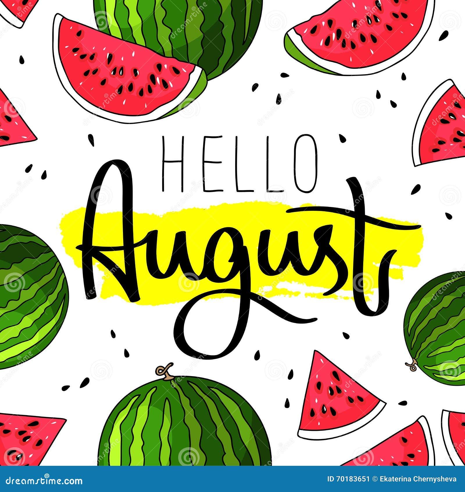 Hello August Fashionable kalligrafi