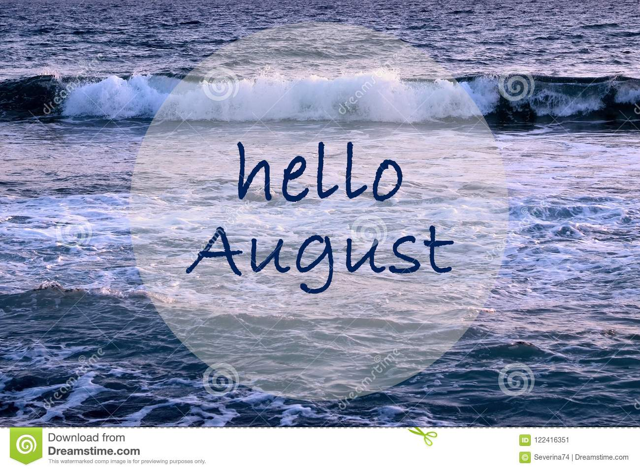 hello august greeting on ocean waves background summer concept