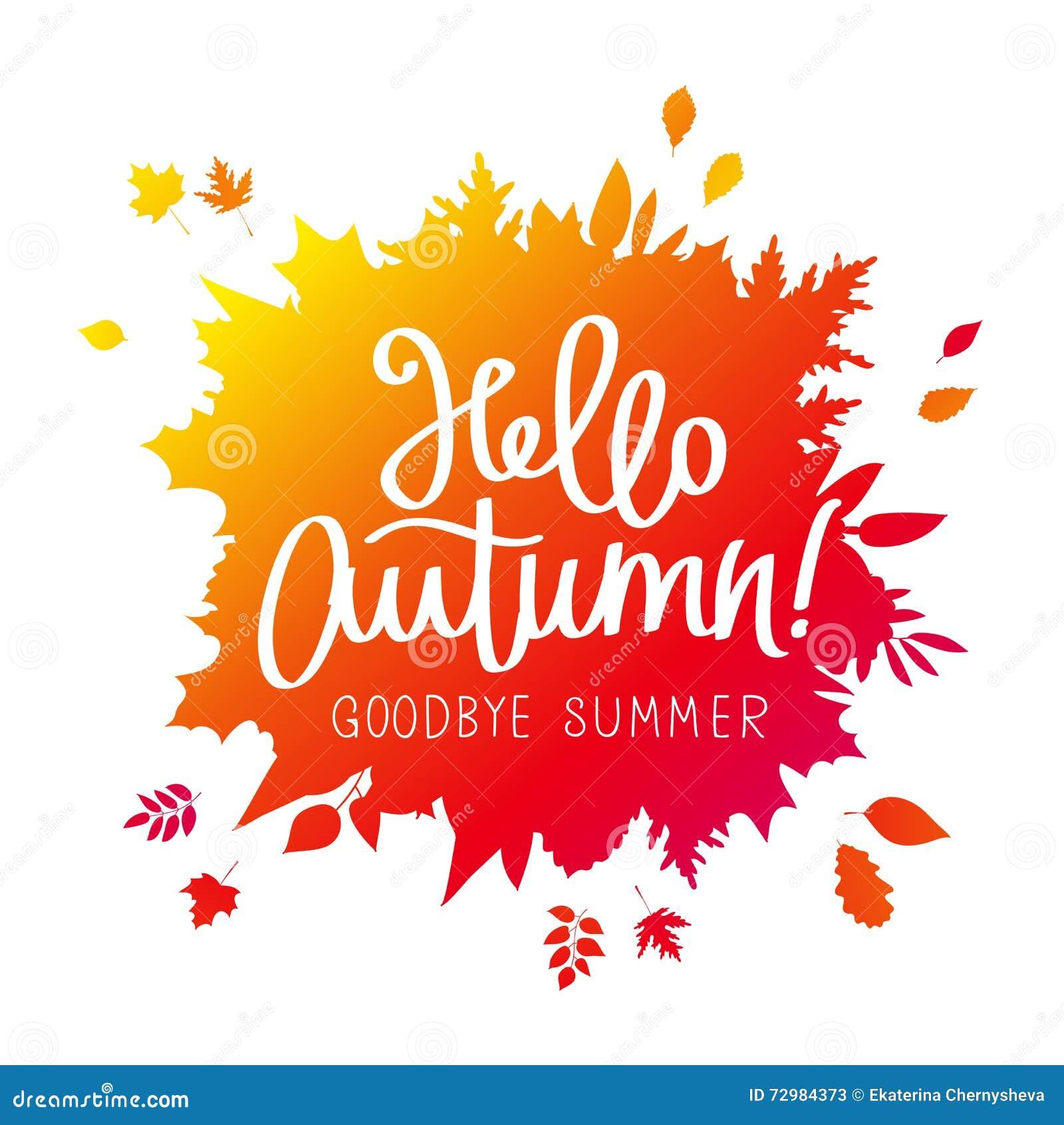 Hello Autumn. Goodbye, Summer. Cartoon Vector ...