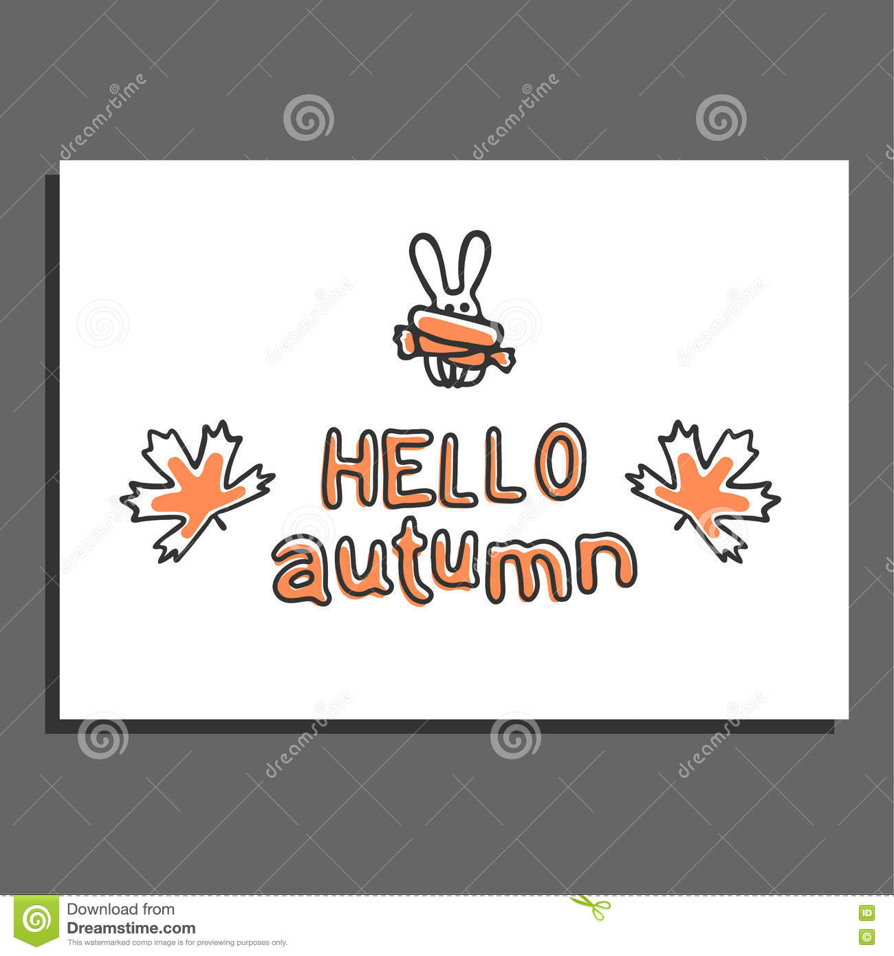 Hello Autumn Greeting Card With Maple Leaves And Cute Rabbit Stock