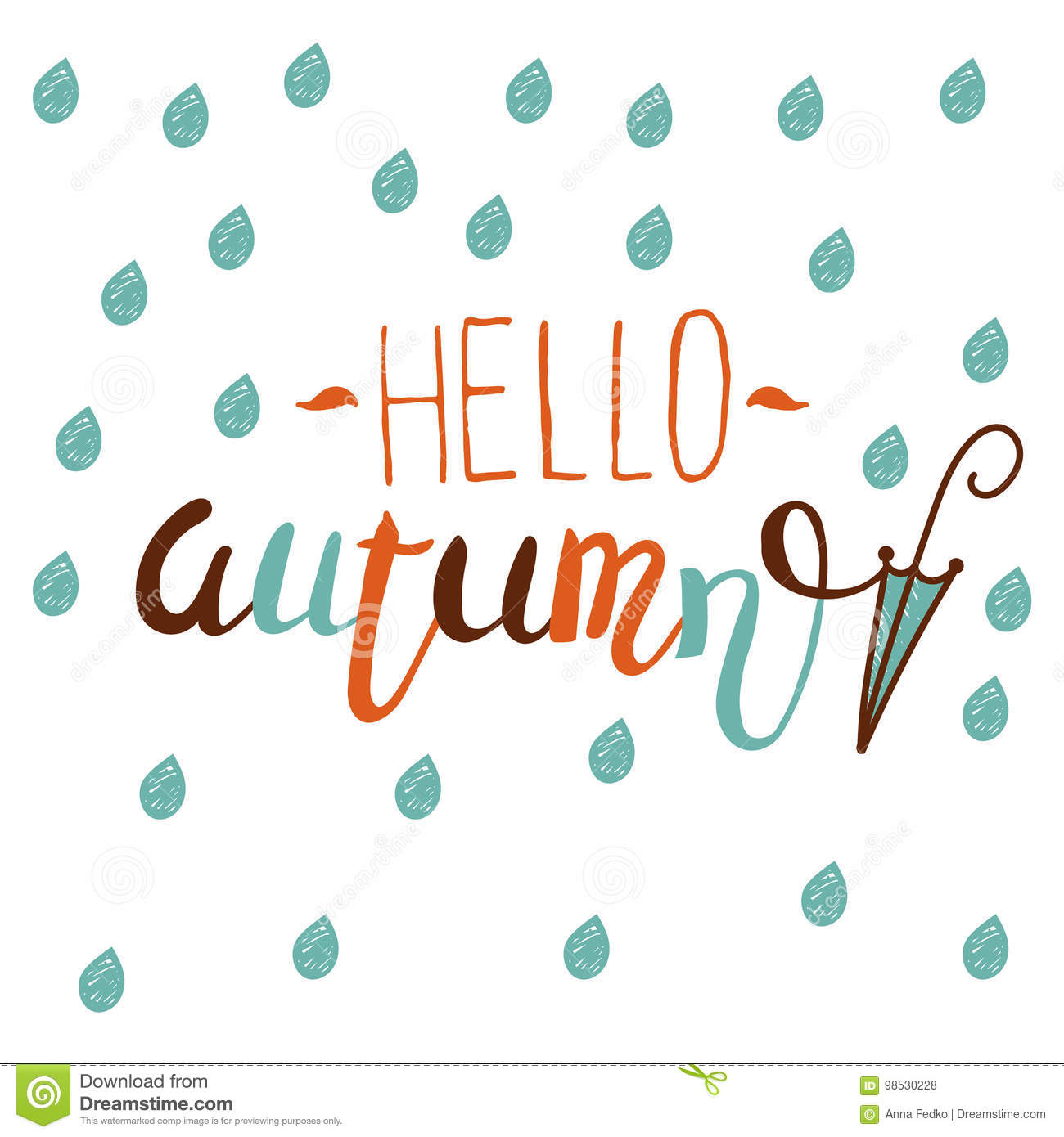 hello autumn hand drawn motivational background design fall theme