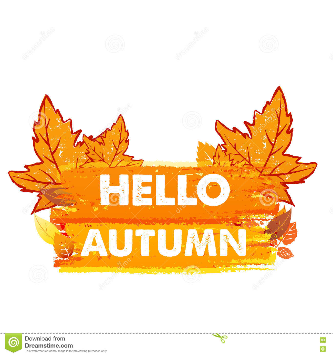 Hello Autumn With Leaves, Drawn Banner Stock Illustration ...