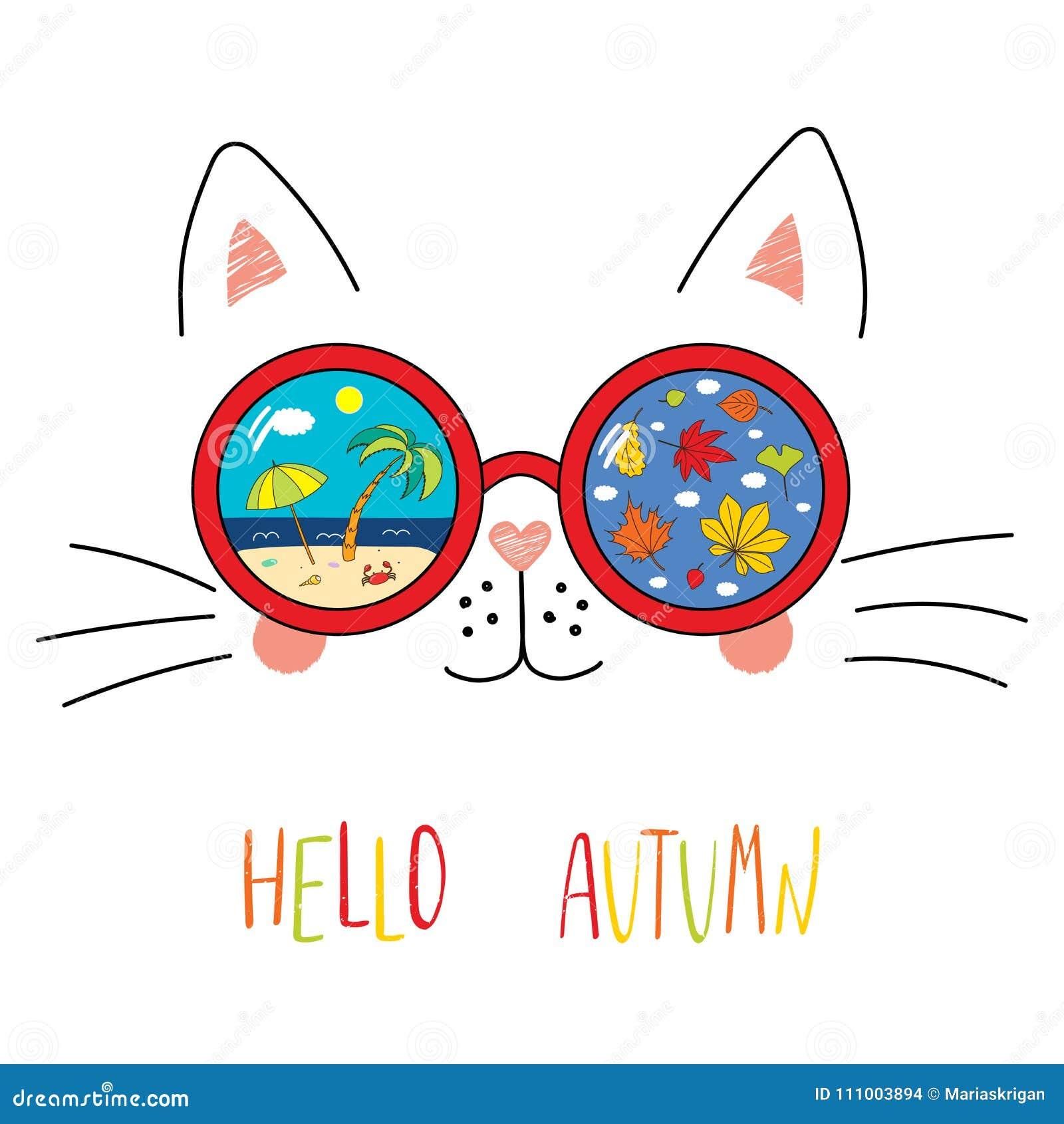 a58683c76f0 Hand drawn portrait of a cute cartoon funny cat in sunglasses with beach  scene