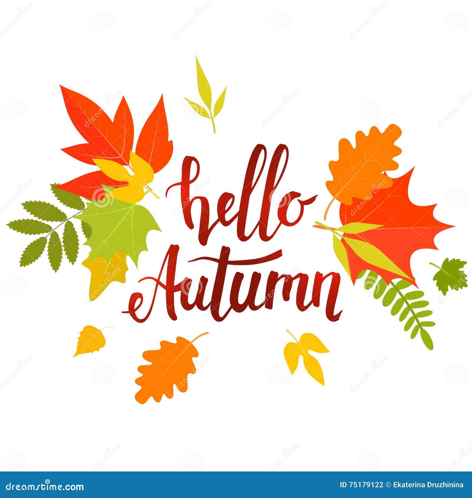 Hello Autumn Lettering Stock Vector - Image: 75179122